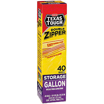 H-E-B Texas Tough Double Zipper Gallon Storage Bags, 40 ct